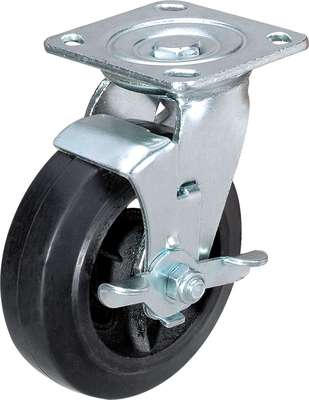 Mold on rubber heavy duty Side Brake Caster