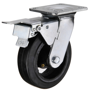Mold on rubber Heavy duty Double Brake Caster